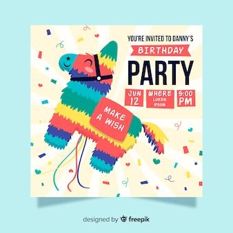 ピニャータと子供の誕生日の招待状のテンプレート