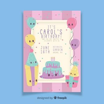Детский шаблон приглашения на день рождения с тортом