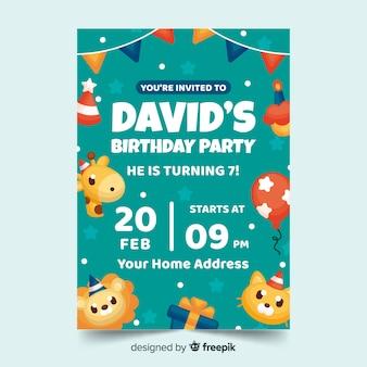 日付と時刻の子供の誕生日の招待状のテンプレート