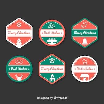 フラットなデザインのクリスマスラベルコレクション