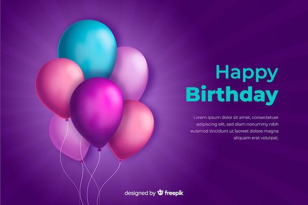 День рождения фон с реалистичными воздушными шарами