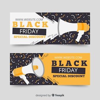 Плоский дизайн шаблона черная пятница баннеры