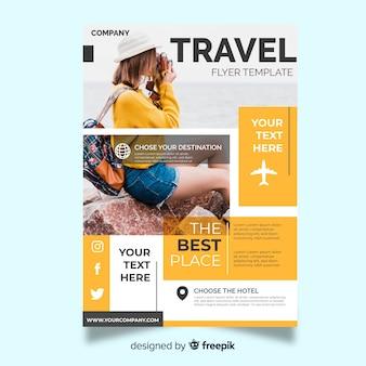 旅行者と旅行チラシテンプレート