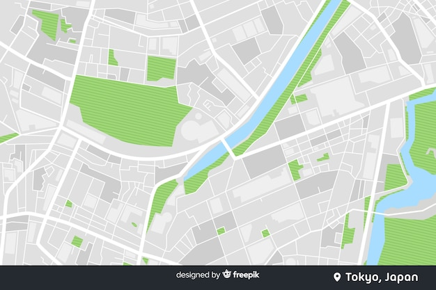 デザインをナビゲートするための色分けされた市内地図