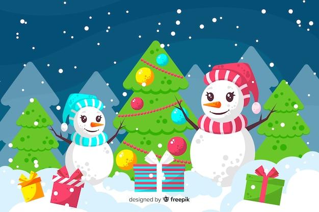 フラットなデザインでカラフルなクリスマスの背景
