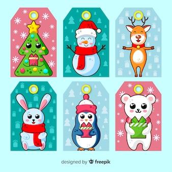 Симпатичная рождественская коллекция этикеток в плоском дизайне