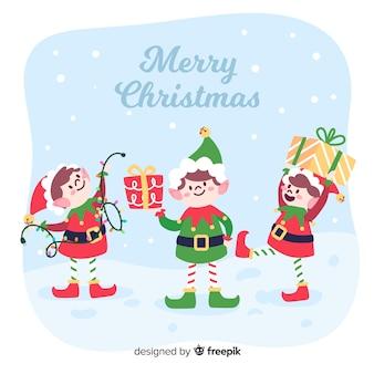 フラットなデザインでカラフルなクリスマスのエルフの背景
