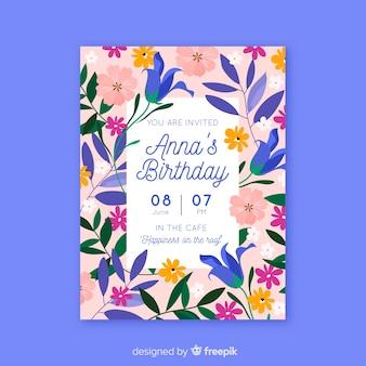 Красочный цветочный шаблон приглашения на день рождения