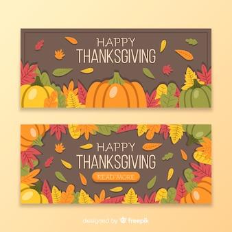 Плоский дизайн шаблона баннеры благодарения
