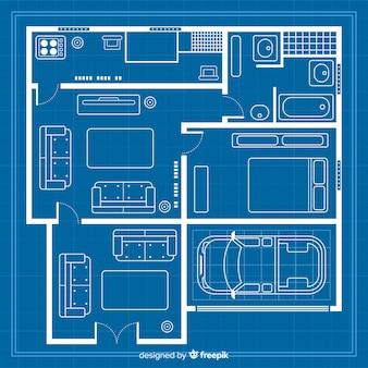 家の現代およびデジタルの青写真