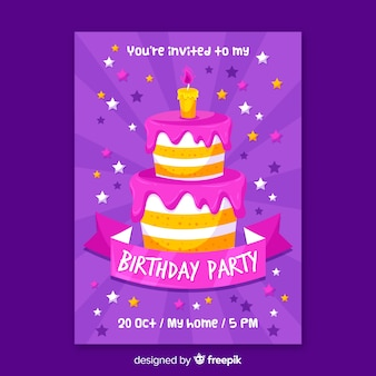 ケーキと誕生日の招待状のテンプレート