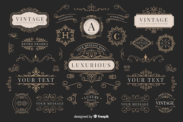 Коллекция старинных декоративных логотипов