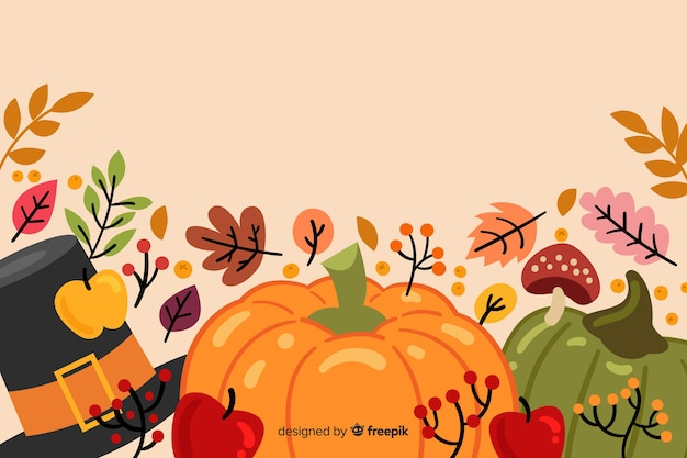フラットなデザインの背景を持つ感謝祭のコンセプト