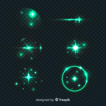 緑色の光の効果のセット