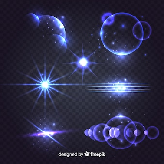 光沢のある青い光の効果セット