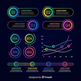 ネオンのグラデーションのカラフルなインフォグラフィック