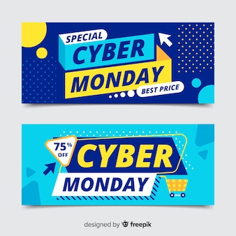 Кибер понедельник баннеры в плоском дизайне