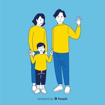 Молодая семья в корейском стиле рисования