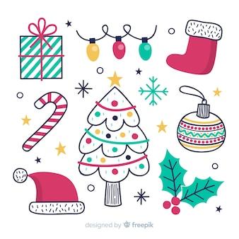 Нарисованная рукой рождественская коллекция элемента