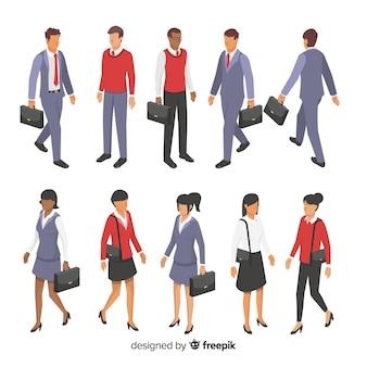 等尺性の若いビジネス人々