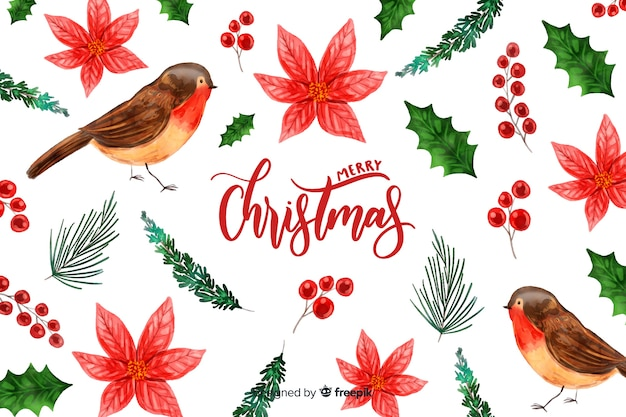 鳥と水彩のクリスマス背景