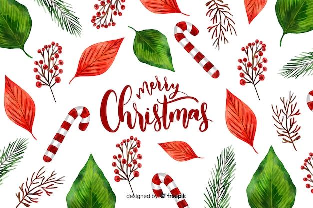 お菓子と水彩のクリスマス背景