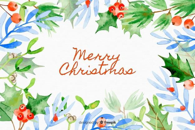ポインセチアの葉とクリスマスの背景