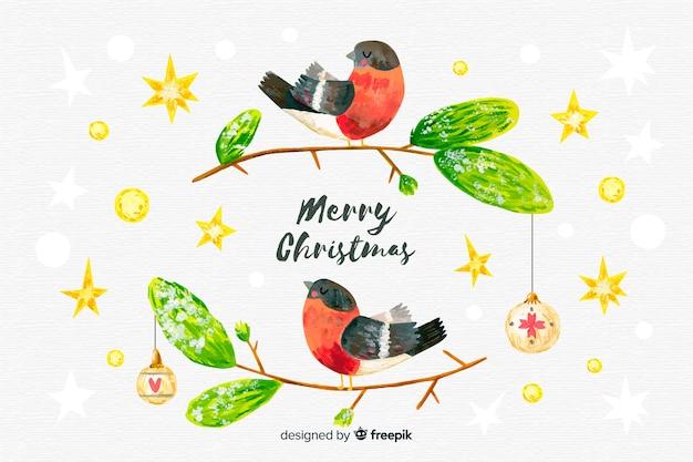 手描き鳥とクリスマスの背景