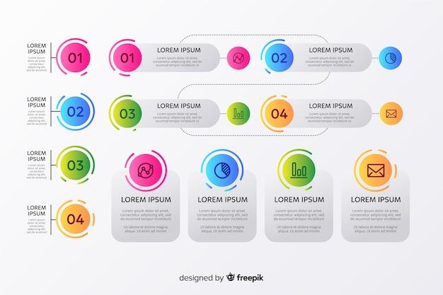 インフォグラフィックグラデーション要素セット