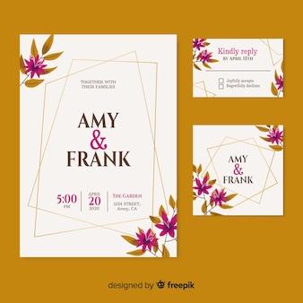 日付とカップルの名前のエレガントな結婚式の招待状