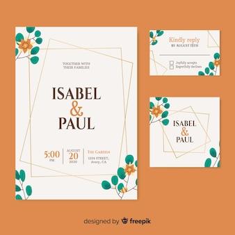 日付とカップルの名前の美しい結婚式の招待状