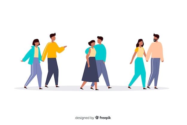 一緒にイラストを歩く若いカップル