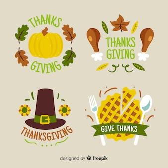 Коллекция значков с темой благодарения