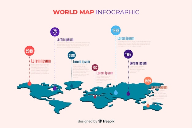 世界地図プロのインフォグラフィック