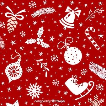 さまざまな装飾とクリスマスの背景