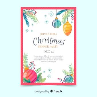 Акварель рождественская вечеринка флаер шаблон