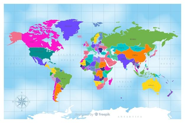 Плоский дизайн красочная политическая карта мира