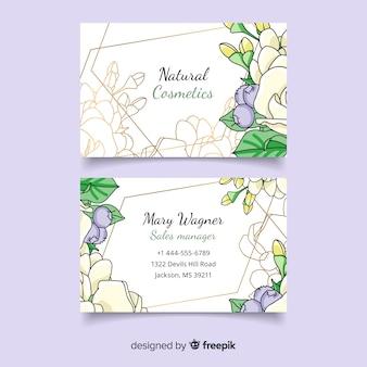 Шаблон цветочные визитки с золотыми линиями