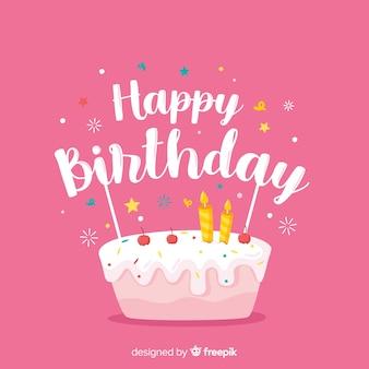 ピンクの背景にお誕生日おめでとうレタリング