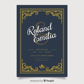 レトロな結婚式の招待状のテンプレート