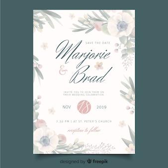 Шаблон свадебного приглашения с цветочной рамкой