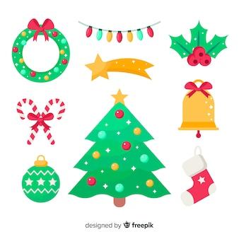 クリスマスの装飾のフラットなデザイン