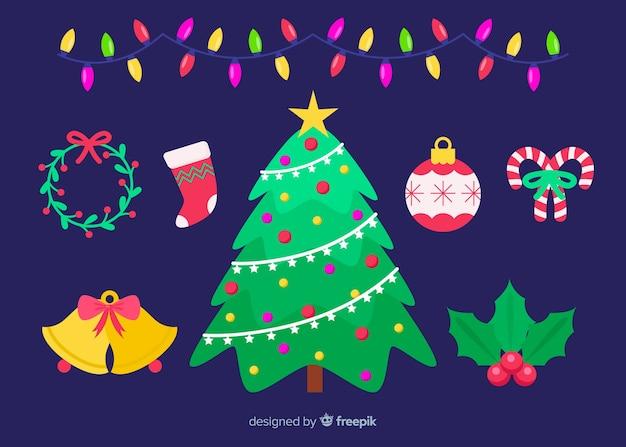 Плоский дизайн рождественского украшения