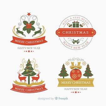 Плоский дизайн рождественской коллекции этикеток