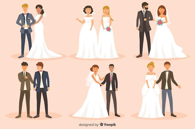 Плоский дизайн коллекции свадебной пары