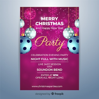 Реалистичная рождественская вечеринка постер шаблон