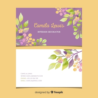 テンプレート花のエレガントな名刺