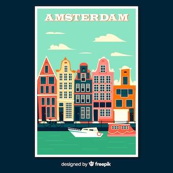 Ретро рекламный плакат амстердама
