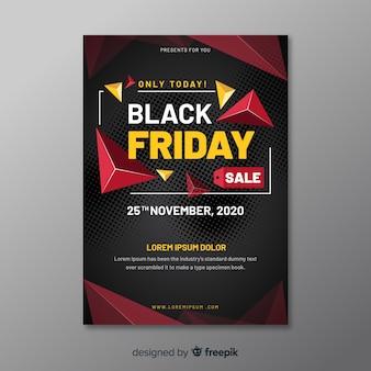 黒い金曜日のチラシテンプレートのフラットなデザイン