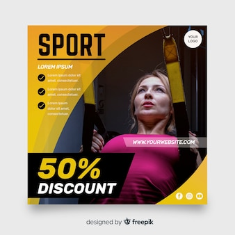 写真テンプレート付きスポーツチラシ